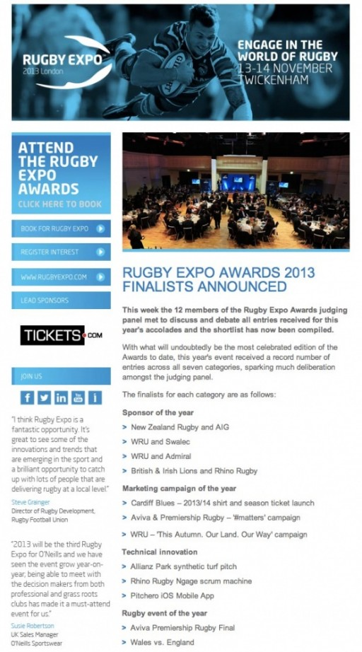 Rugby Expo Awards 2013