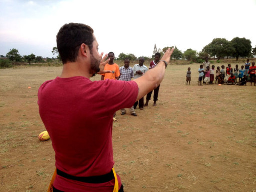 Hein Ferreira leads a coach education session in rural Lilongwe schools