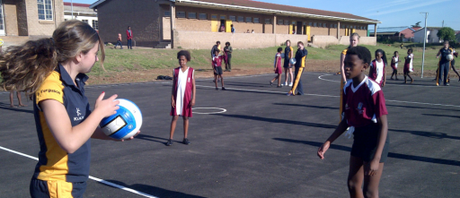 Netball court at township school, South Africa